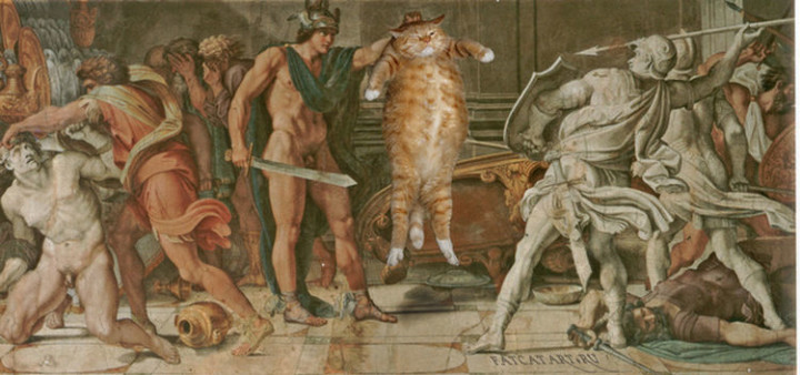Fat Cat Photobombs Famous Paintings - Perseus and Phineas, Annibale Carracci and Domenichino (1597).