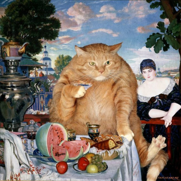 Fat Cat Photobombs Famous Paintings - The Merchant's Wife at Tea, Boris Kustodiev (1918)
