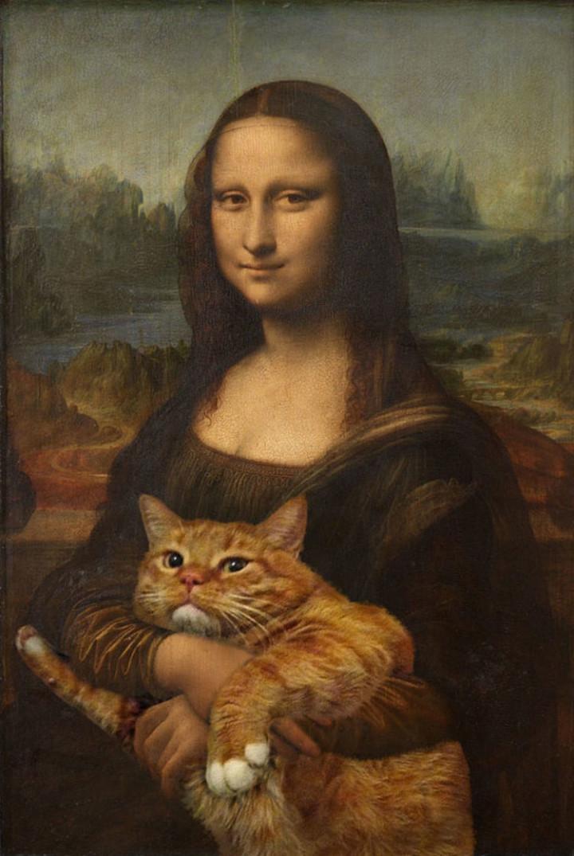 Fat Cat Photobombs Famous Paintings - Mona Lisa, Leonardo da Vinci (1503-1506)