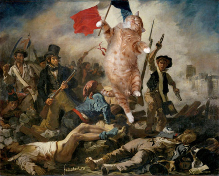 Fat Cat Photobombs Famous Paintings - Liberty Leading the People, Eugène Delacroix (1830)