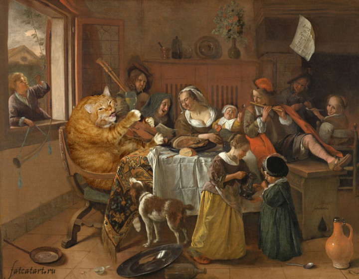 Fat Cat Photobombs Famous Paintings - The Merry Family, Jan Steen (1668).