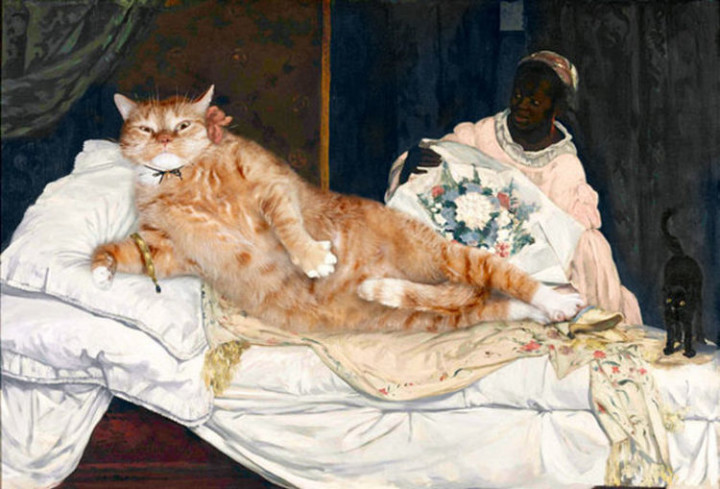 Fat Cat Photobombs Famous Paintings - Olympia, Édouard Manet (1863).