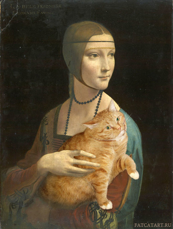 Fat Cat Photobombs Famous Paintings - Lady with an Ermine, Leonardo da Vinci (1489–1490).
