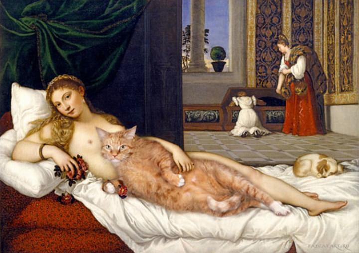 Fat Cat Photobombs Famous Paintings - Venus of Urbino, Titian (1538).