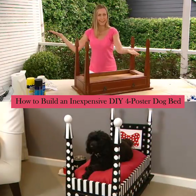 How to make a diy dog bed from an old side table for Diy poster bed