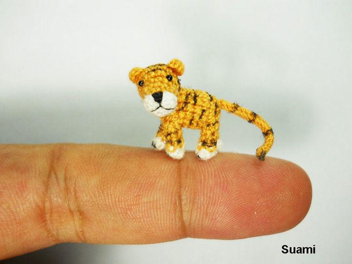 Stuffed crochet tiger.