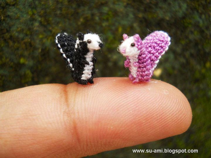 Micro crochet squirrels.