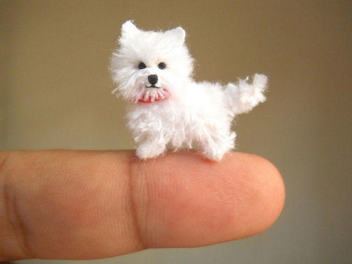 Tiny crochet Maltese puppy looks real!