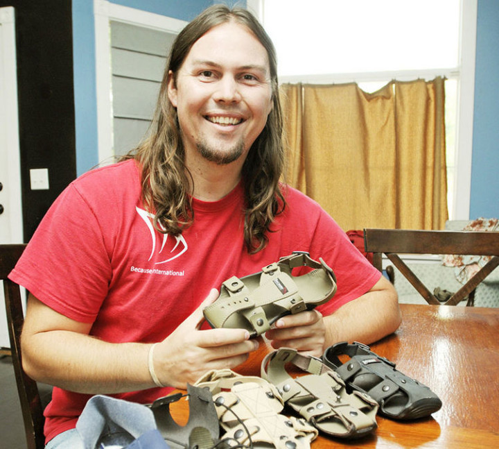 Kenton Lee of Because International saw a need for shoes that could grow along with impoverished children who can't afford shoes.
