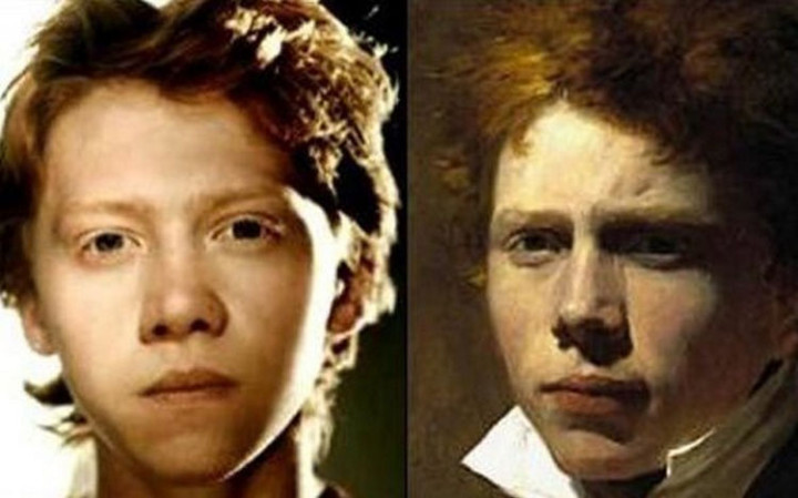 "20 Celebrity Historical Doppelgangers - Rupert Grint of ""Harry Potter"" and Scottish painter Sir David Wilkie."