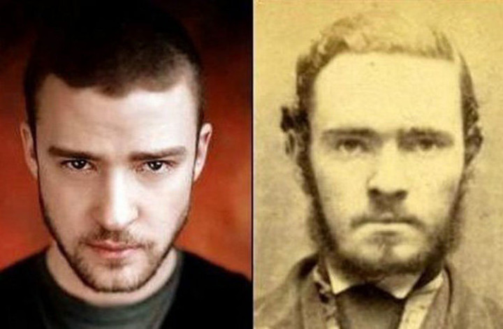20 Celebrity Historical Doppelgangers - Justin Timberlake and an unknown mugshot.