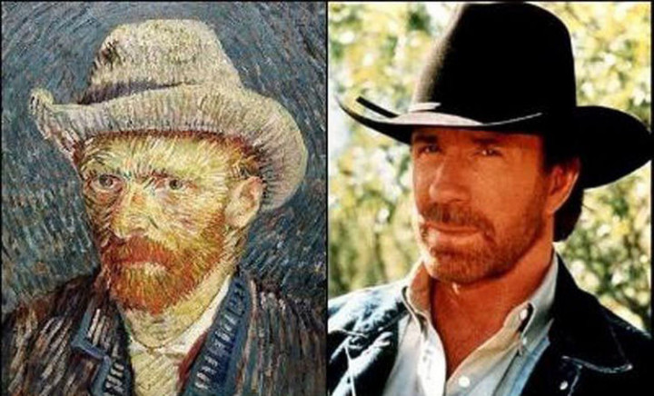 20 Celebrity Historical Doppelgangers - Chuck Norris and artist Vincent VanGogh.