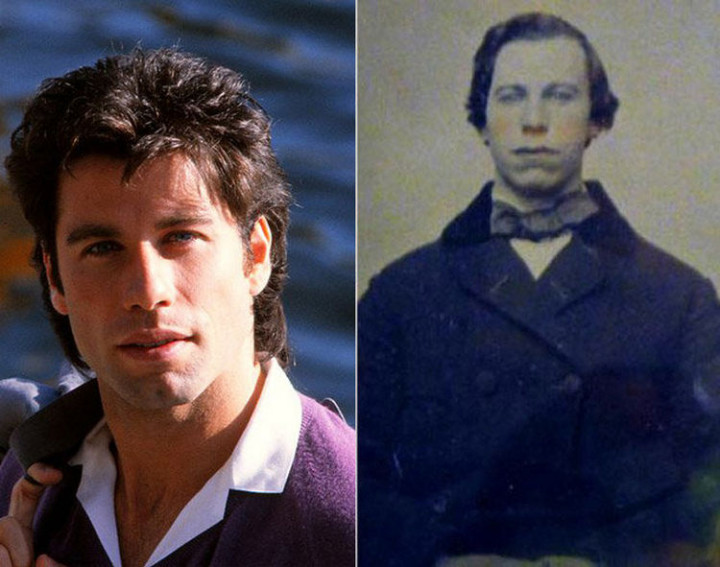 20 Celebrity Historical Doppelgangers - John Travolta and an unknown man from the 1860s. Without hair, the unknown man would also resemble Vin Diesel.
