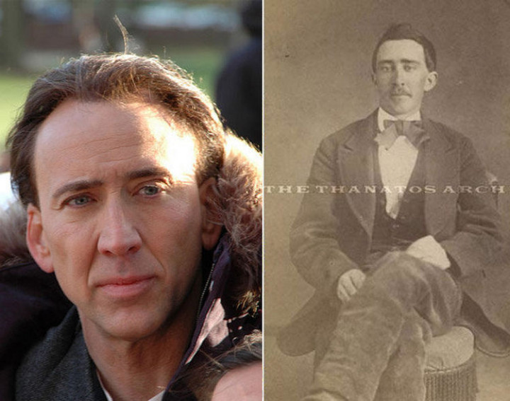 20 Celebrity Historical Doppelgangers - Nicholas Cage and a man from the Civil War era.