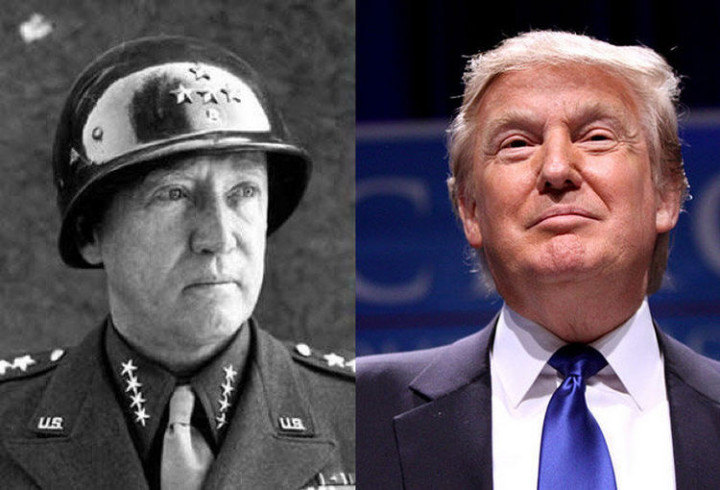 20 Celebrity Historical Doppelgangers - Donald Trump and United States Army General George Patton.