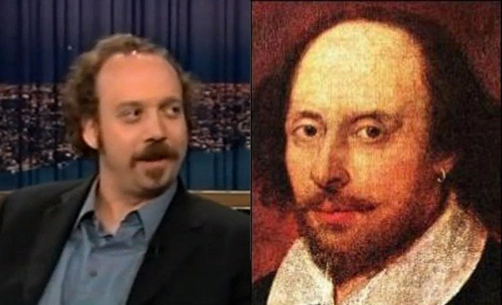 20 Celebrity Historical Doppelgangers - Paul Giamatti and poet William Shakespeare.