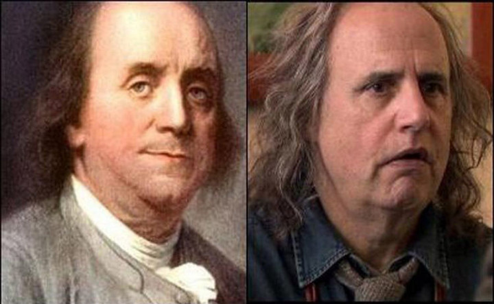 20 Celebrity Historical Doppelgangers - Jeffery Tambor and one of the Founding Fathers of the United States, Benjamin Franklin.