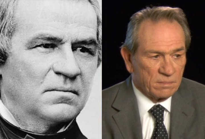 20 Celebrity Historical Doppelgangers - Tommy Lee Jones and the 17th President of the United States, Andrew Johnson.