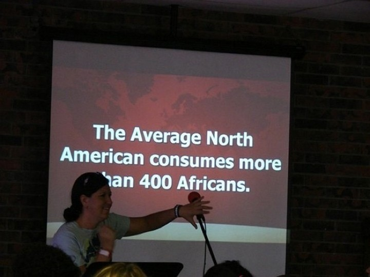 "21 Funny Spelling Mistakes - ""The average North American consumes more than 400 Africans."""