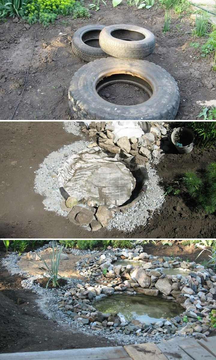 22 Awesome Ways to Turn Used Tires Into Something Great - Build a relaxing pond with recycled tires
