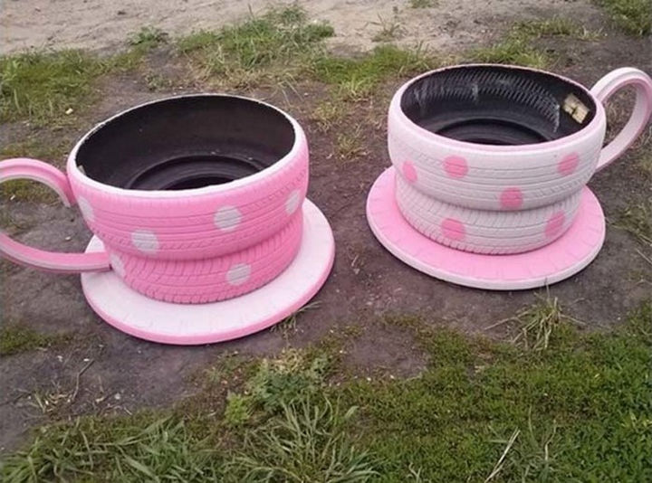 22 Awesome Ways to Turn Used Tires Into Something Great - Bring a whimsical feel to your garden with teacup tire planters.