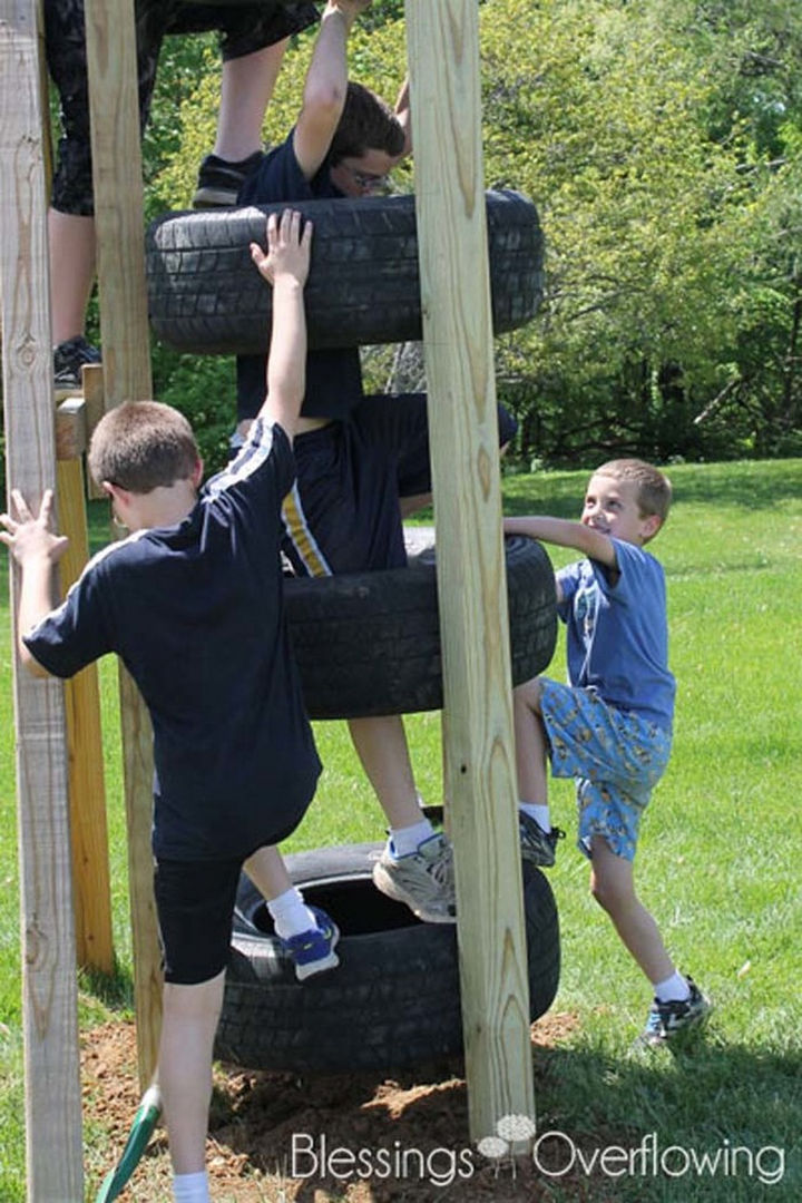 22 Awesome Ways to Turn Used Tires Into Something Great - Keep the kids entertained with a tire climbing tower.
