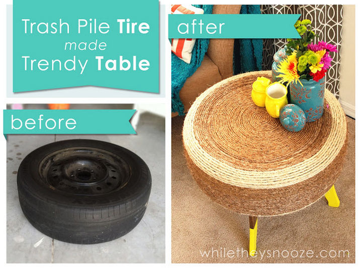 22 Awesome Ways to Turn Used Tires Into Something Great - Don't need an ottoman? How about a trendy tire table?