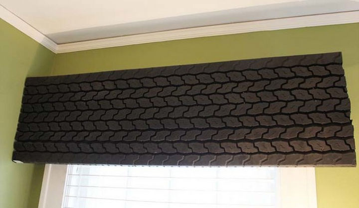 22 Awesome Ways to Turn Used Tires Into Something Great - A tire tread valance for car lovers.