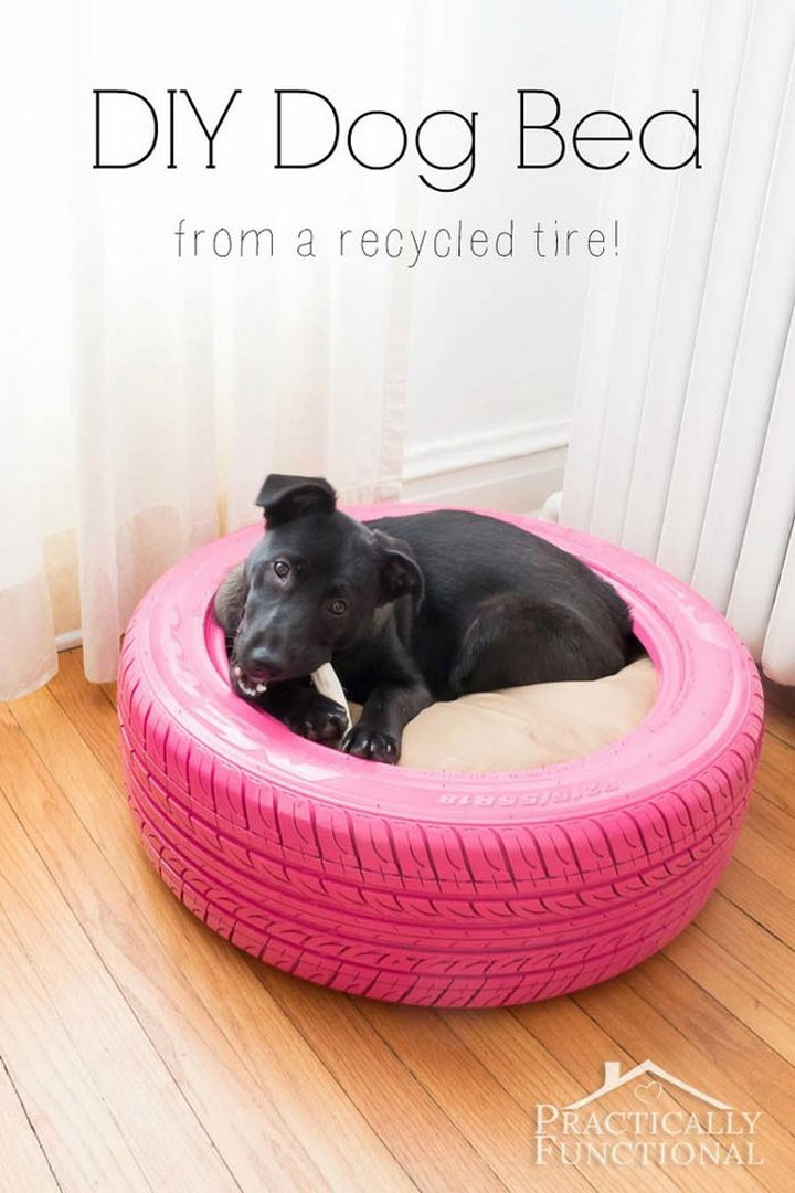 22 Awesome Ways to Turn Used Tires Into Something Great - Create a DIY dog bed.