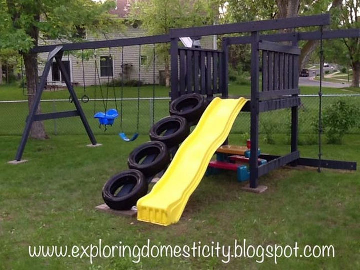22 Awesome Ways to Turn Used Tires Into Something Great - Add a tire ladder to your kid's outdoor play set.