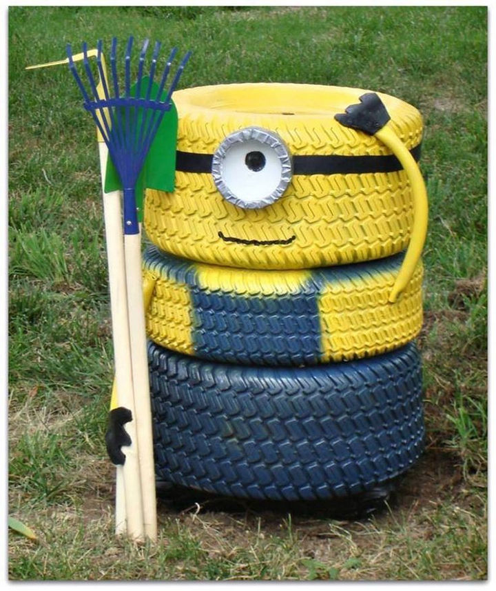 22 Awesome Ways to Turn Used Tires Into Something Great - Create a Minions flower pot.