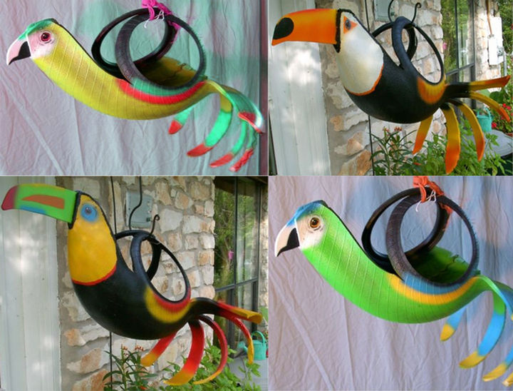 22 Awesome Ways to Turn Used Tires Into Something Great - Make rubber birds from old tires.