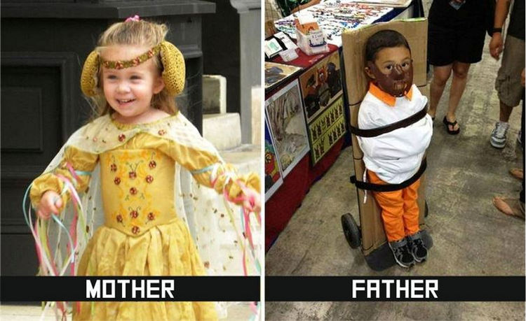22 Ways Parenting Styles Differ Between Moms and Dads - Dressing up for Halloween is also a bit different.