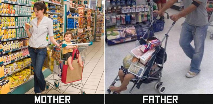 22 Ways Parenting Styles Differ Between Moms and Dads - Shopping can be an entirely different experience depending on the parent.