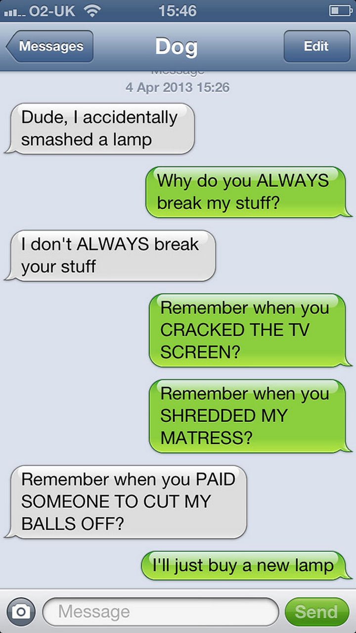 22 Hilarious Text Messages If Dogs Could Text - He'll be playing that card for a while.