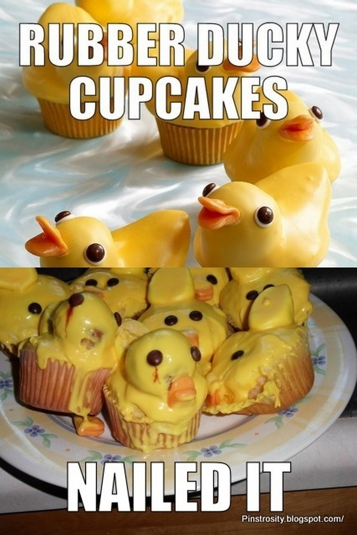 26 Pinterest Fails - Rubber ducky cupcakes look great if they're not oozing yellow goo.