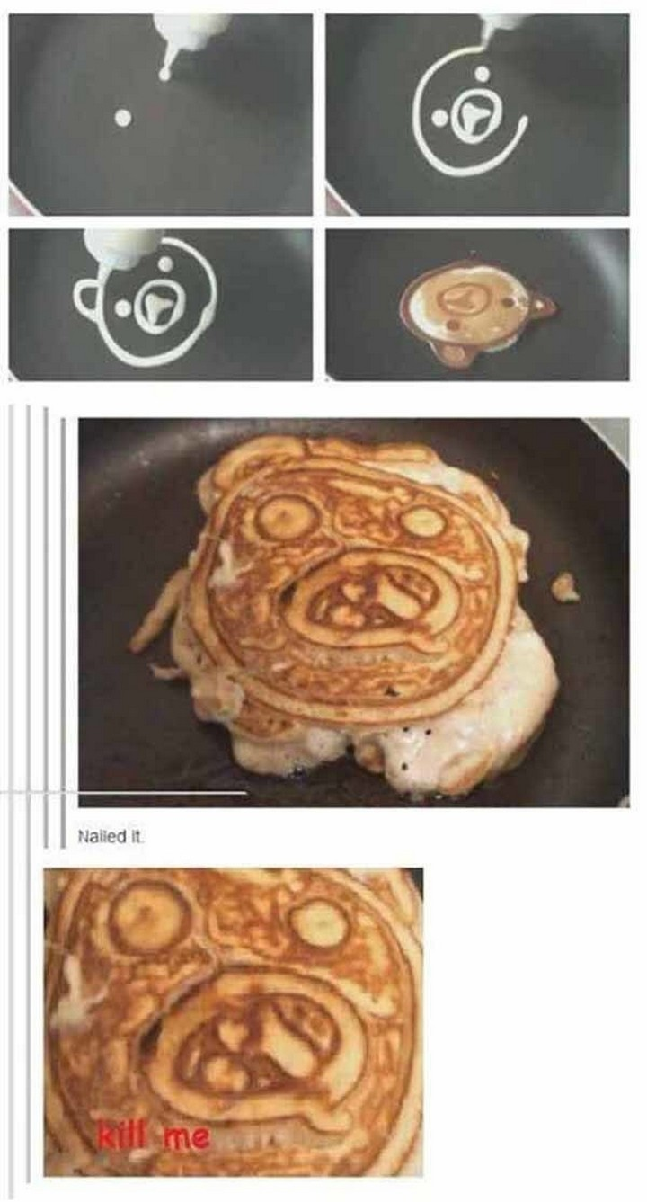 26 Pinterest Fails - Kids will love these cute bear cub pancakes. On second thought, maybe not.