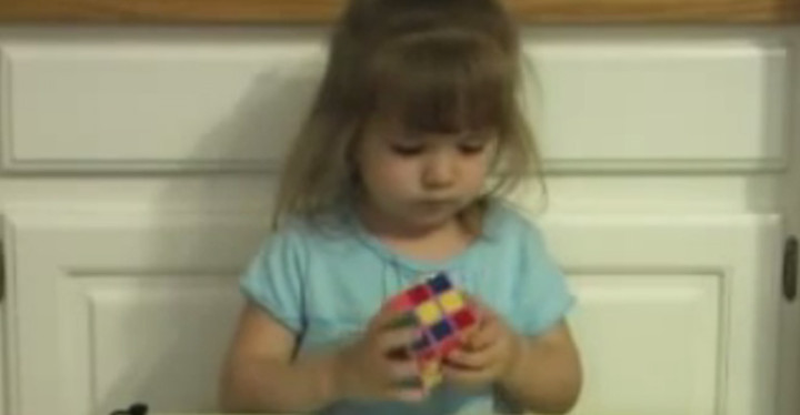 3-Year-Old Girl Solves Rubik's Cube in Under 3 Minutes.