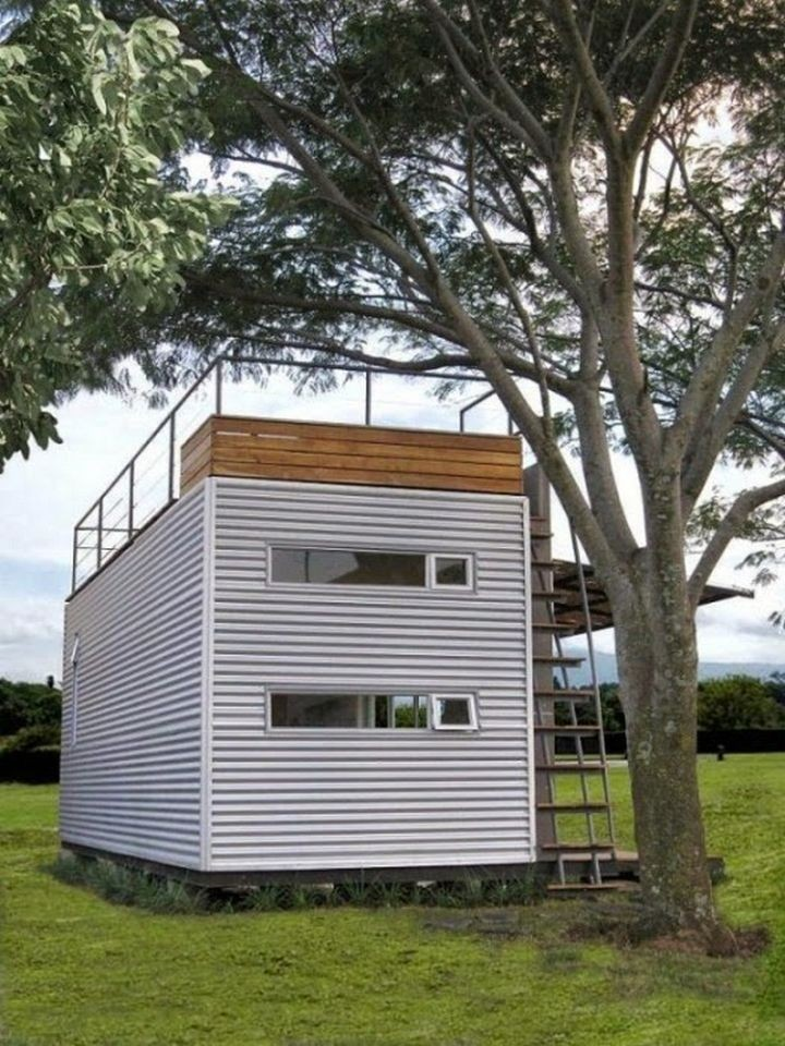 This shipping container home designed by Cubica is only 160 square feet but is very spacious on the inside.