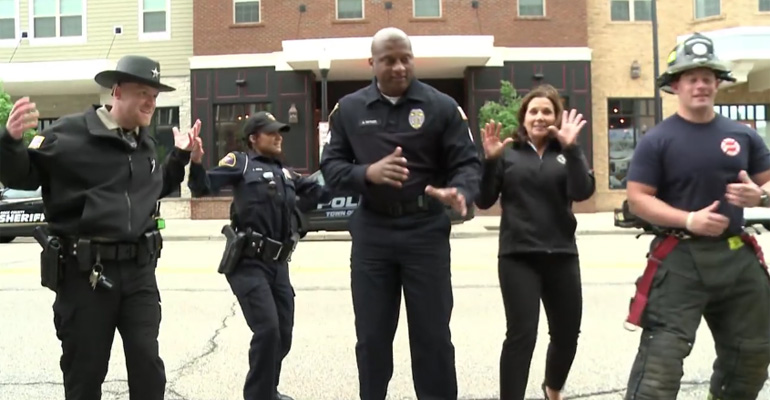 Rock County First Responders Start Dancing to 'Uptown Funk'.