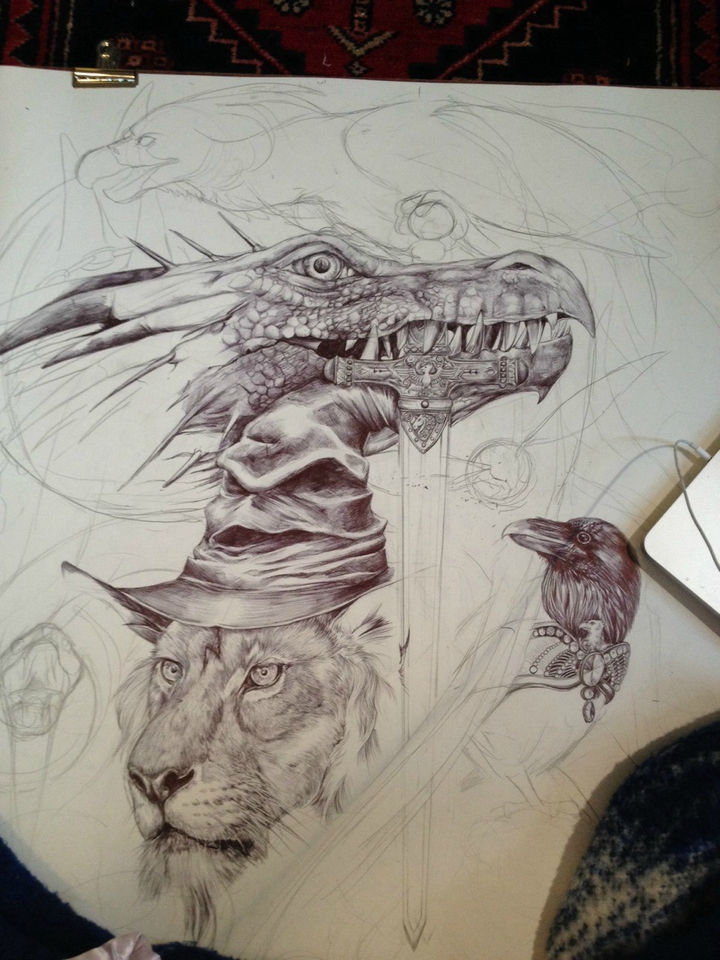 On day 4, the dragon's head is fairly complete and work begins on the sword of Gryffindor and a raven.