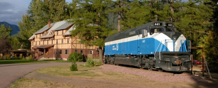 The Great Northern 441 is just one of the many other restored train cars on display at the Izaak Walton Inn.
