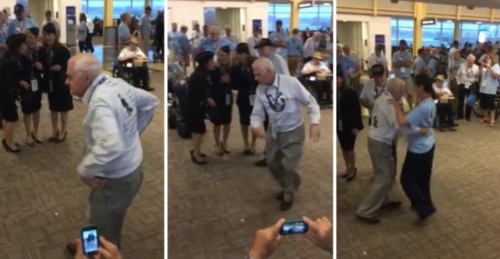 "WWII Veteran Dances Wonderfully to ""Boogie Woogie Bugle Boy"" at Reagan National Airport."