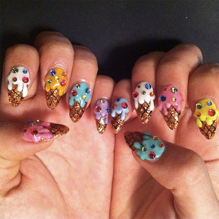 13 Food Nails Inspired by the Love of Food - Ice cream manicure.