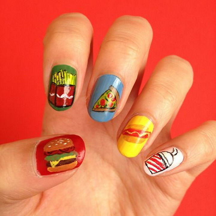 13 Food Nails Inspired by the Love of Food - Favorite fast food nails.