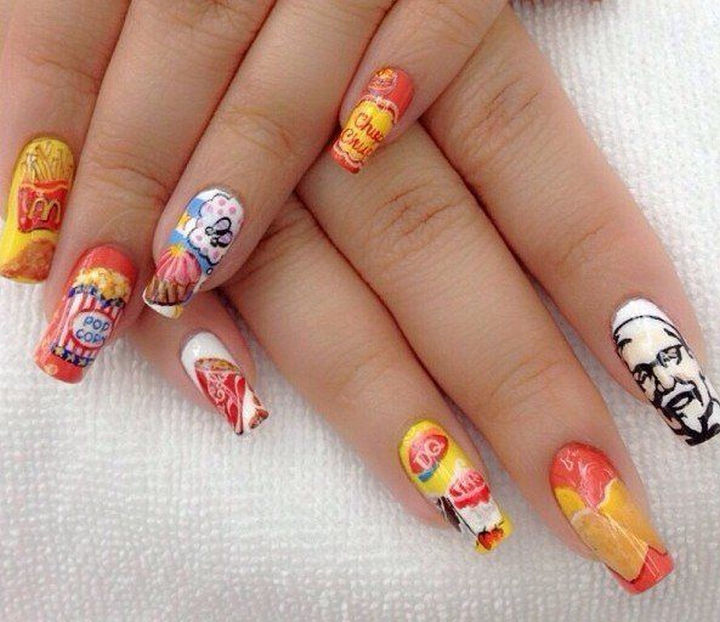 13 Food Nails Inspired by the Love of Food - Fast food franchise manicure.