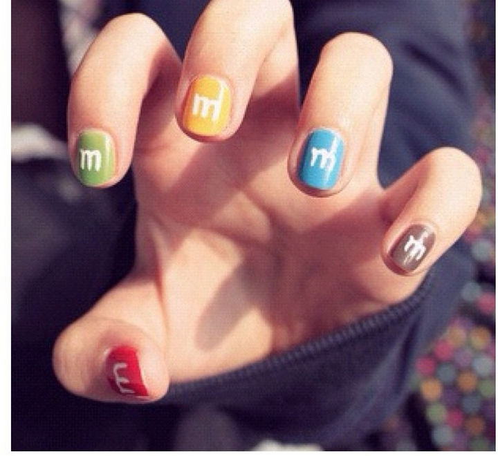 13 Food Nails Inspired by the Love of Food - M&M candy manicure.