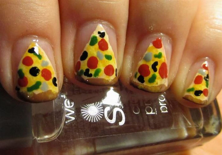 13 Food Nails Inspired by the Love of Food - Deluxe pizza nail art.
