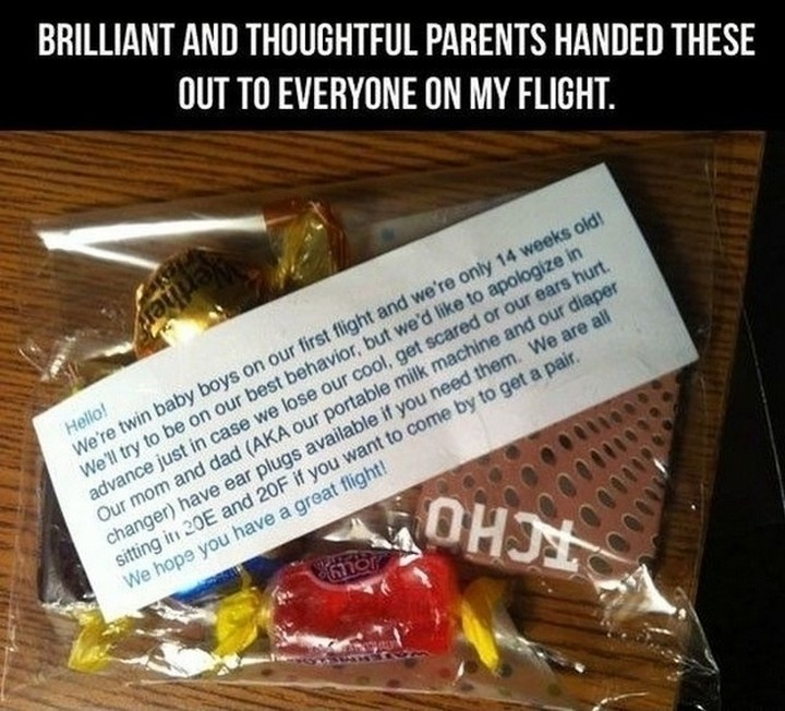 21 Hilarious Parents - An extremely kind gesture from new parents on an airplane flight.