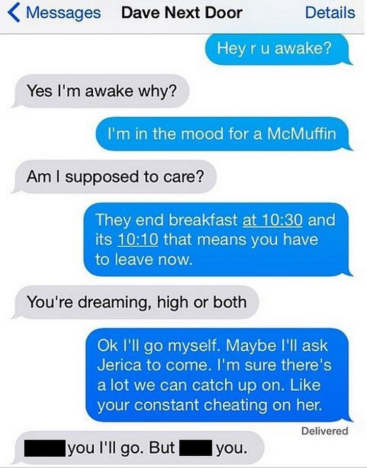 25 Hilarious Texts Between Neighbors - I see what you did there, very clever.
